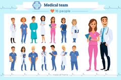Satz Gruppendoktoren, Krankenschwestern und medizinische Belegschaft, lokalisiert auf Weiß Verschiedene Nationalitäten Flache Art vektor abbildung
