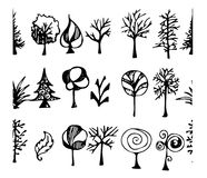 Satz Gussbürstenillustration der Hand gezeichneten Skizzenlinie ENV Stockfotografie