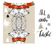 Satz guten Rutsch ins Neue Jahr-Gold 2017 der frohen Weihnachten entwirft mit Rotwildelementen Ideal für Weihnachtsgrußkarte, Fei Stockfotografie
