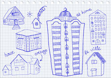 Satz Häuser Stockfotos
