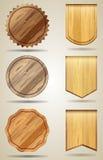 Satz hölzerne Elemente für Design Stockfoto