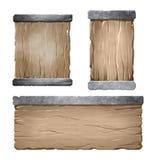 Satz hölzerne Popup- Fenster mit Metallspitzenstange Stockfotos