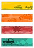Satz halbe Fahnen mit Retro- Autos. stock abbildung