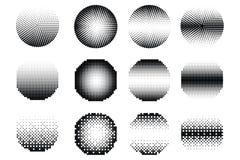 Satz Halbton punktiert Vektorkreisformen Zusammenfassung punktiert, Formen punktierend Einfarbiger Halbtonsteigungskreissatz lizenzfreie abbildung