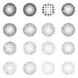 Satz Halbton rauen die Kreise auf, die auf weißem Hintergrund lokalisiert werden spalte Stockbild
