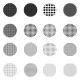 Satz Halbtonkreise auf weißem Hintergrund Sammlung Halbtoneffektpunktmuster Stockbilder