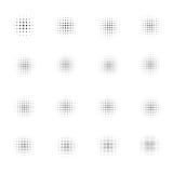 Satz Halbtonkreise auf weißem Hintergrund Sammlung Halbtoneffektpunktmuster Auch im corel abgehobenen Betrag Lizenzfreie Stockbilder