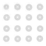 Satz Halbtonkreise auf weißem Hintergrund Sammlung Halbtoneffektpunktmuster Auch im corel abgehobenen Betrag Lizenzfreie Stockfotografie