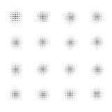 Satz Halbtonkreise auf weißem Hintergrund Sammlung Halbtoneffektpunktmuster Auch im corel abgehobenen Betrag Stockfotografie