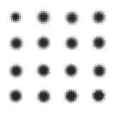 Satz Halbtonkreise auf weißem Hintergrund Sammlung Halbtoneffektpunktmuster Auch im corel abgehobenen Betrag Stockbild