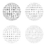Satz Halbtonkreise, die aus Buchstaben bestehen Sammlung Halbtoneffektpunktmuster Bereich-Illustration Abstraktes Geschäft sym Stockbild