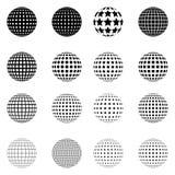 Satz Halbtonkreise lokalisiert auf dem weißen Hintergrund Sammlung Halbtoneffektpunktmuster Bereich-Illustration Abstraktes b Lizenzfreie Stockbilder