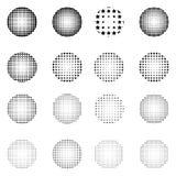Satz Halbtonkreise lokalisiert auf weißem Hintergrund Sammlung Halbtoneffektpunktmuster Lizenzfreies Stockbild