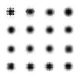 Satz Halbtonkreise lokalisiert auf weißem Hintergrund Sammlung Halbtoneffektpunktmuster Auch im corel abgehobenen Betrag Stockbild