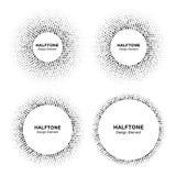 Satz Halbtonkreisvektorrahmen mit schwarzen abstrakten gelegentlichen Punkten, Logoemblemgestaltungselement für Technologie, medi stock abbildung