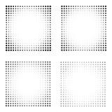 Satz Halbtonquadrate lokalisiert auf dem weißen Hintergrund Sammlung Halbtoneffektpunktmuster Schwarze Illustration des Rechtecks Lizenzfreies Stockfoto