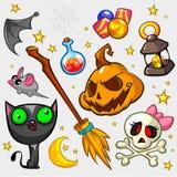 Satz Halloween-Kürbis und -attribute Lizenzfreie Stockfotos