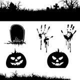 Satz Halloween-Kürbis und -fahnen Lizenzfreies Stockbild
