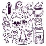 Satz Halloween-Skizzenattribute Stockbilder