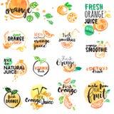 Satz Hand gezeichnete Aquarellaufkleber und Zeichen des Orangensaftes und der Smoothies Lizenzfreies Stockbild