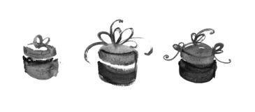 Satz Hand gezeichnete Aquarellgeschenke. Lizenzfreie Abbildung