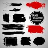 Satz Hand gezeichnete Bürsten und Gestaltungselemente Schwarze Farbe, Tintenbürstenanschläge, plätschert Künstlerische kreative F Stockbilder