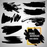 Satz Hand gezeichnete Bürsten und Gestaltungselemente Schwarze Farbe, Tintenbürstenanschläge, plätschert Künstlerische kreative F Stockfotos