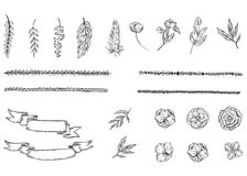 Satz Hand gezeichnete Blumen, Blätter, Niederlassungen, Federn, Bänder und Segeltuch in der Kontur auf einem blauen Hintergrund A lizenzfreie stockbilder