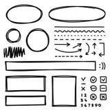 Satz Hand gezeichnete Elemente für das Vorwählen des Textes Stockfotografie