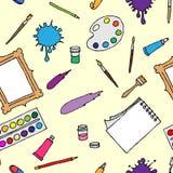 Satz Hand gezeichnete Entwürfe von Instrumenten für den Künstler lizenzfreie abbildung