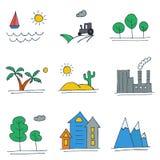 Satz Hand gezeichnete farbige Landschaftsikonen Lizenzfreie Stockfotos