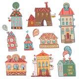 Satz Hand gezeichnete Gebäude in der Weinleseart. Lizenzfreies Stockfoto