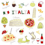 Satz Hand gezeichnete Gekritzel von Italien Stockfotos