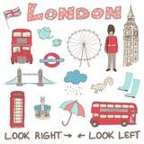 Satz Hand gezeichnete Gekritzel von London, England Lizenzfreies Stockbild