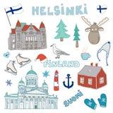 Satz Hand gezeichnete Gekritzelikonen von Helsinki, Finnland Lizenzfreies Stockbild