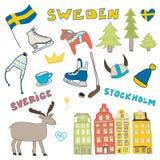 Satz Hand gezeichnete Gekritzelikonen von Schweden Auch im corel abgehobenen Betrag Lizenzfreie Stockfotografie