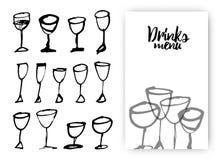 Satz Hand gezeichnete Getränkschalen Ideendesign mit Getränkgläsern für Stock Abbildung