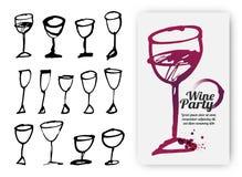 Satz Hand gezeichnete Getränkschalen Illustration von Designschablone wi Lizenzfreie Abbildung