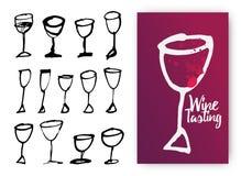 Satz Hand gezeichnete Getränkschalen Illustration von Designschablone wi Stock Abbildung