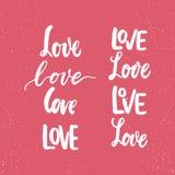 Satz Hand gezeichnete Heilig-Valentinsgruß-Tagesbeschriftungsphrasen über Liebe Foto bedeckt Zeichen Hochzeitsfotoalbum und Grußk stock abbildung