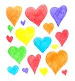 Satz Hand gezeichnete Herzen auf dem weißen Hintergrund Lizenzfreie Stockfotos