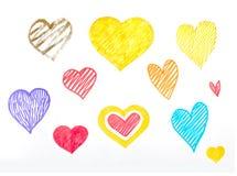 Satz Hand gezeichnete Herzen auf dem weißen Hintergrund Stockfotos