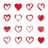 Satz Hand gezeichnete Herzen Gestaltungselemente für Valentinsgruß ` s Tag Lizenzfreie Stockfotos