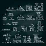 Satz Hand gezeichnete Häuser Unterschiedliche Gebäudesammlung Lizenzfreie Stockfotografie