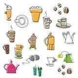 Satz Hand gezeichnete Kaffee- und Teeskizzen Stockbild