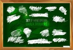 Satz Hand gezeichnete Kreidefahnen 1 Stockbild