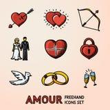 Satz Hand gezeichnete Liebes-Liebesikonen mit - Herzpfeil, zwei Herzen, Amorbogen, Paar, Impuls, Schließfach, Vogel, Ringe Lizenzfreie Stockfotografie