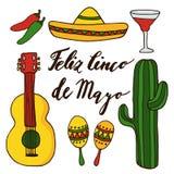 Satz Hand gezeichnete mexikanische Ikonen für Feiertag cinco Des Mayo, lokalisierte Gekritzelillustrationen Lizenzfreie Stockbilder