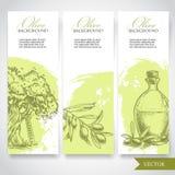 Satz Hand gezeichnete olivgrüne Fahnen Stockbilder