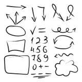 Satz Hand gezeichnete Pfeile, Kreis und Quadrate für die Hervorhebung des Textes Stockfotografie